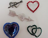 Vintage Valentine Heart Pins LOT of 5