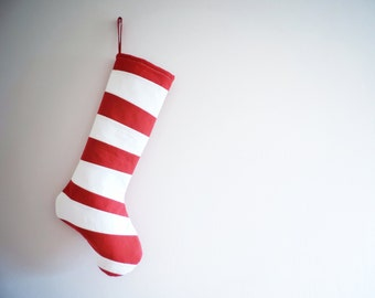 1 Christmas Stocking - ONE SEUSS Stocking - Red and White Striped Christmas Stocking Inspired by Dr Seuss - for Boy or Girl - Holiday Decor