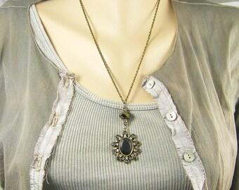 Matte Black Necklace, Black Gray Clear Rhinestone Necklace, Black Victorian Necklace Gothic Antique Bronze Drop Necklace |NC2-6