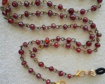 """Eyeglass Lanyard or Necklace.  Dainty Red Glass Beads.  25"""""""