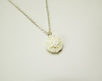 White Cluster Flower Charm Necklace