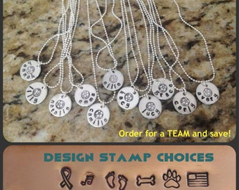 Team Necklaces Personalized Sport Coach Player Name Custom Hand Stamped Name Soccer Softball Lacrosse Basketball Hockey Volleyball Swimming