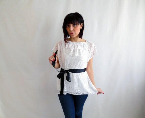 White lace top, lace blouse, tunic top, womens tshirt, ruffle top, lace tunic, alicecloset, white lace tunic
