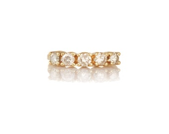 Vintage Champagne Diamond Gold Band Ring