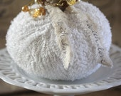 Handmade Fluffy Knit Pumpkin (White Color) with Real Pumpkin Stem and added Embellishments