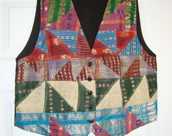Vintage Vest Women's Size Large Patchwork Colorful 'Strike A Pose 'Brand