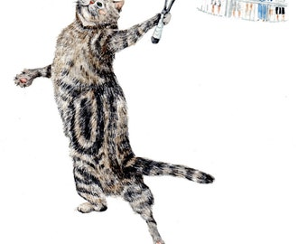 Cat Playing Tennis - Art Print of Watercolor Painting - 8''x10'' animals whimsical nursery baby shower, cottage, cabin sports cheers