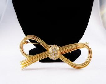 Vintage Bow Tie Brooch/Pin with Rhinestones