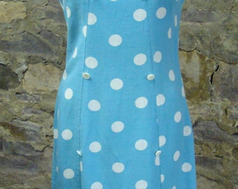 AQUA POLKA DOT 1960's sheath dress summer linen S