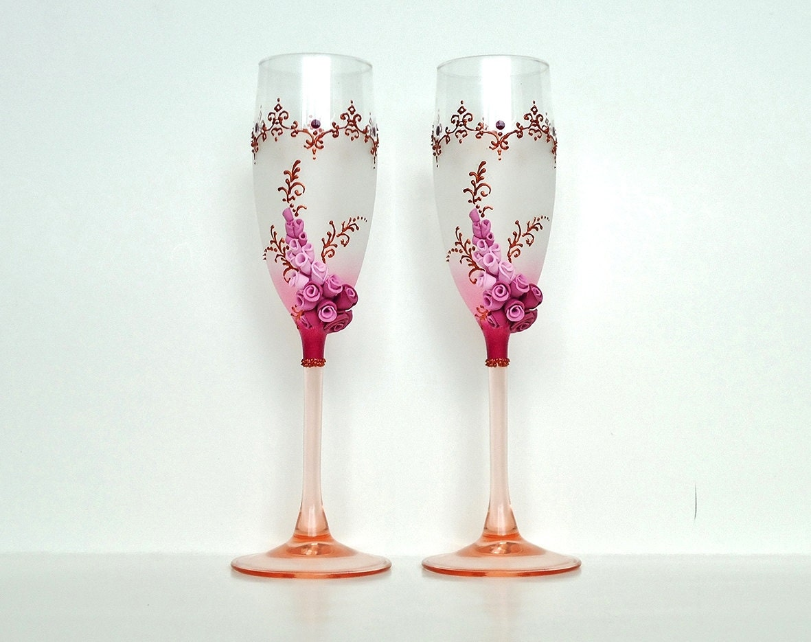 bordeaux wedding champagne glasses toasting flutes roses. Black Bedroom Furniture Sets. Home Design Ideas