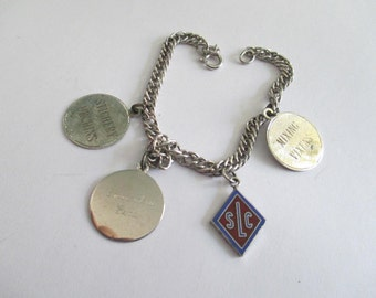 Vintage Sterling Silver Sewers Knitters Charm Bracelet Stitchery Urchins Mixing Vixens 13.3 grams Small wrist quilting Scrap sterling