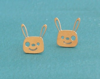 Rabbit Posts , Gold Bunny Stud Earrings , Gift for Girls and for Rabbit Lovers , Bunny Earrings , Rabbit Earrings , Kawaii Earrings