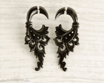 Handmade Wood Earrings Fake Gauges  Wooden Earrings Flower Circle Drops Tribal Earrings - FG004 DW G1