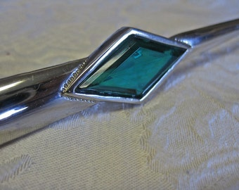 Modernist Brooch Vintage 80s Abstract Minimalist Silver and Emerald Green Glass Diamond Shape STUNNING Art Deco Statement Mothers Day Gift