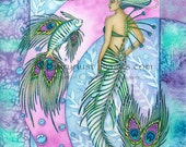Peacock Tailed Mermaid with her Fishy Feathered Friend Fantasy Art Print