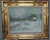 Vintage WINTER LANDSCAPE IMPRESSIONISM Oil on Board Fine Art Signed L Roberts 1976 - Free Shipping!