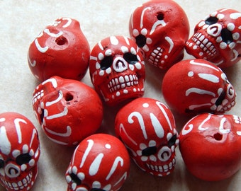 """22X17mm Red """"Day of the Dead"""" Ceramic Handcrafted Skull Pendant - Bead, 1 PIECE (N7-Indoc599)"""