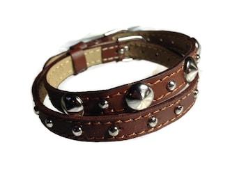Wrap Bracelet - Studded Leather Wrap - Studded Brown Wristband - Studded Brown Buckle Bracelets - 2 Bracelets In 1