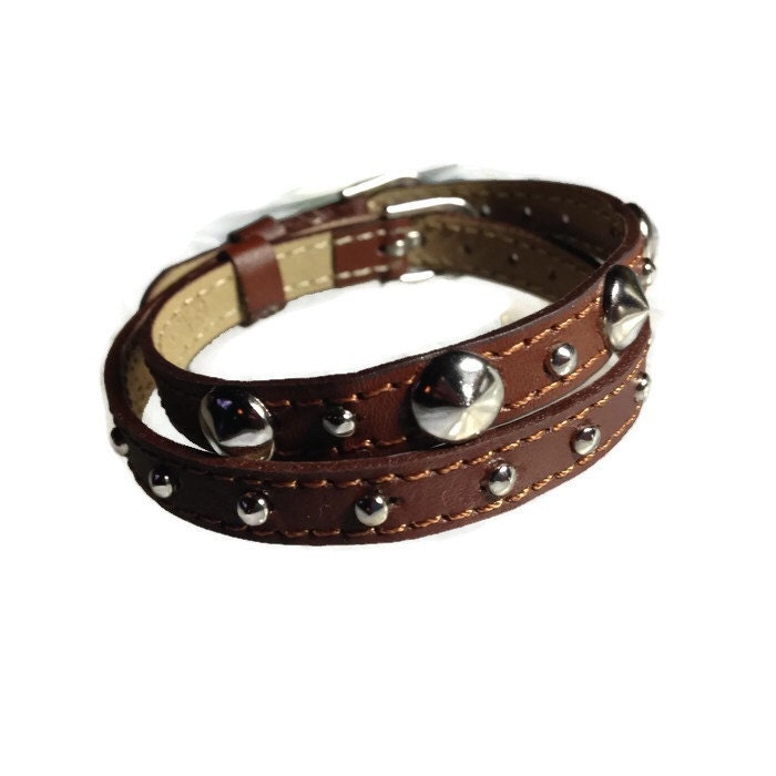 wrap bracelet studded leather wrap studded brown wristband