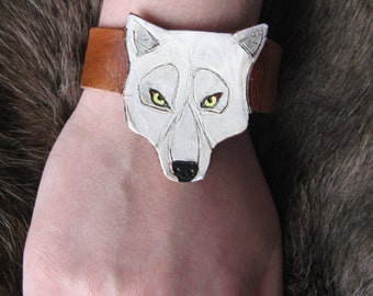 White wolf carved leather cuff