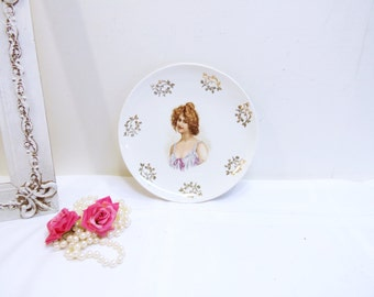 Antique Victorian Bowl/ Dresden China/Signed Venori/Victorian Women Bowl Serving Dish