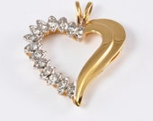 Vintage 14kt Gold and Diamond Heart Pendant - Yellow Gold and 14 Diamonds - Sweetheart - Valentine's Day - Anniversary Gift - Mother's Gift