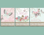 Butterfly art prints, set of 3, Baby girl nursery, coral mint nursery, flower wall art, baby art prints, mint pink bedding shabby chic decor