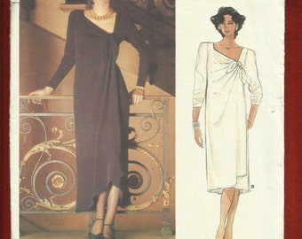 Vintage 1985 Vogue 1539 Chole Asymmetrical Neckline Dresses with Front Wrap  Size 12