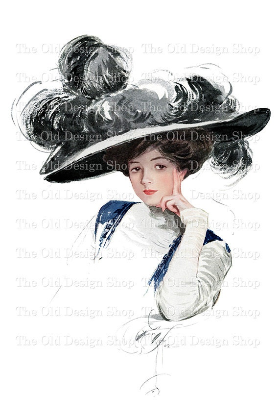Harrison Fisher Victorian Lady with Large Black Hat Printable Art Digital Download JPG Image