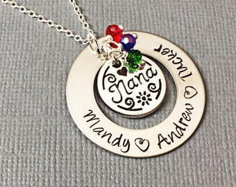 Hand stamped Nana Necklace / Personalized Nana Necklace - Personalized Jewelry - Grandmother Jewelry / Personalized Necklace - Nana