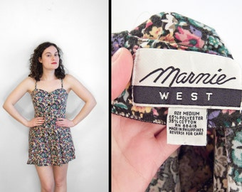 Floral Sweetheart Romper 1990s Marnie West Crosslaced Back S / M