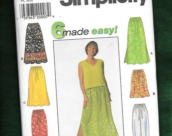 Simplicity 7513 Skirt, and Pants With Elastic Waist, Misses' Sizes Large, Extra Large UNCUT
