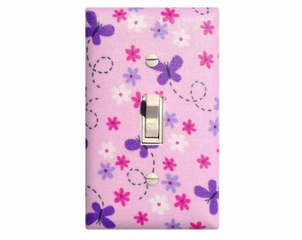 Butterfly Flower Light Switch Plate Cover Pink Purple Girls Room Nursery Decor / Slightly Smitten Kitten