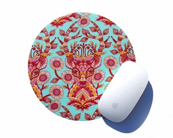 Deer Round Mouse Pad / Aqua Stag / Modern Home Office Decor / Woodland