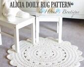 "Crochet Doily Rug Pattern - ""ALICIA"" 28 inch rug - PDF"