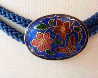 Cloisonne Buckle Belt Braided Robe Plus Size Blue Floral