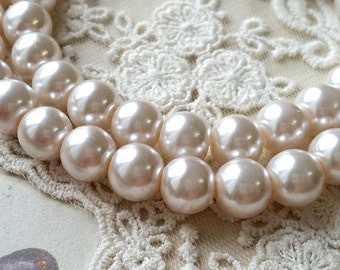 8 mm Pale Pink Color Glass Pearl Beads (.mtgs)