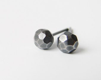 Sterling silver stud earrings. Black edgy minimalist studs. Simple contemporary jewelry.