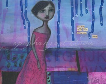 "9"" x 12"" Poem Wall Decor - ""Soul Rising"" - Fine Art Giclee Print - Purple Pink Blue, Black Hair Traveling Woman, Found Poetry, Moon Sky"