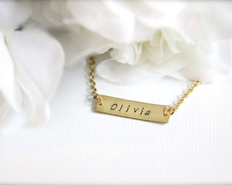 Name Bar Necklace, Gold Bar Flower Girl Gift Girls Hand Stamped Engraved Personalized Necklace Inspirational Word - FREE Gift Packaging