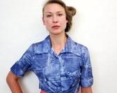 Vintage Versace Tie Waist Jeans Print Collared Top