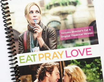 EAT PRAY LOVE Notebook  Recycled Spiral Dvd Journal green purple