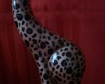 "Abstract Leopard style Giraffe Sculpture-Ceramic-12""Tall"