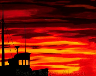 Sailor's Delight - print of Alaska fishing boat silhouette with 'red sky at night'