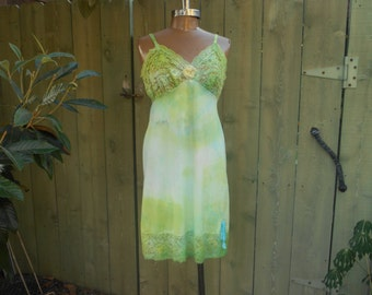 Upcycled/ Vintage Slip/ Sun Dress/ Sexy/ Fairy/ Surfer Girl/ Boudoir/ Hippie/ Boho/ French Boudoir/ Maxi Tie Dye Slip Dress