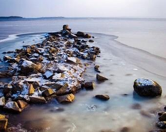 Digital download - photography decor winter coast sea rocks ice snow seascape cold blue pink white
