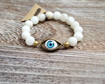 Evil Eye Bracelet White Quartz