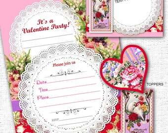 Valentine's Day Printable Party Pack Kit DIY Instant Download