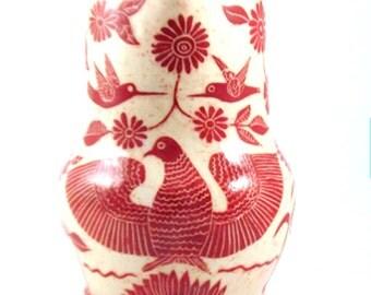 Art Pottery Sgraffito PITCHER Vase - EAGLE LIONS Humming Birds -Hand Built Carved Jug - Handmade Folk Art  Personalize Color