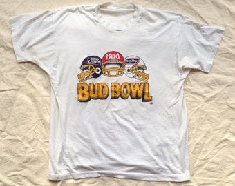 vintage BUDWEISER BOWL Shirt - 1980s - Size Medium/ Large